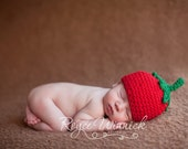 Crochet Baby Boy Hat Tomato Beanie Photography Prop Ready Item