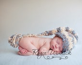 Striped Long Tail Elf Baby Boy Crochet Hat Photography Prop