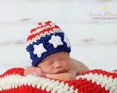 American Flag Hat  crochet Baby Newborn Photography Prop Ready Item