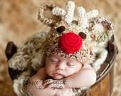 Reindeer Hat Baby Boy or Baby Girl  Photography Prop Sizes Preemie, Newborn, 0-3 months, 3-6 months