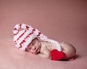 Striped Valentine Elf  Hat Baby Photography Prop Sizes Preemie, Newborn, 0-3 months, 3-6 months