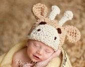 Baby Boy or Baby Girl Crochet Hat Little Giraffe Photography Prop Ready Item