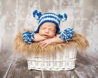 Striped Monkey Baby Boy Crochet Hat and Photography Prop Ready Item
