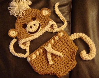 Monkey Set Hat and Diaper Cover Baby Photography Prop