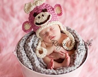 Pink Monkey Earflap Baby Newborn Crochet Photography Prop