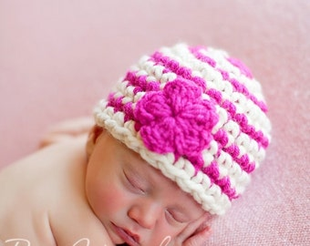 Striped Beanie With Flower Baby Newborn Photography Prop