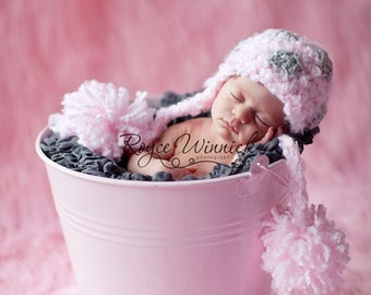 Stars and Poms Hat Baby Newborn Crochet Photography Prop