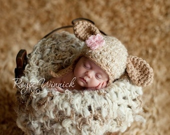 Lamb Baby Girl or Baby Boy Crochet Hat and Photography Prop Ready Item