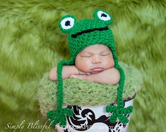 Frog Baby Boy Crochet Hat and Photography Prop Sizes Newborn, 0-3 months, 3-6 months and bigger
