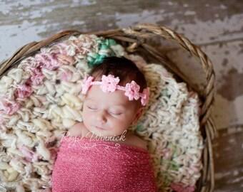 Flower Headband Baby Photography Prop Sizes Preemie, Newborn, 0-3 months, 3-6 months
