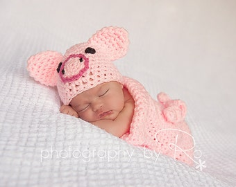 Crochet Piggy Set - Cocoon and Beanie baby Newborn Crochet Photography Prop