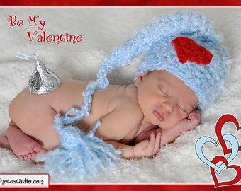 Valentine Elf Baby Boy Crochet Hat with a Heart Applique Photography Prop Sizes Preemie, Newborn, 0-3 months, 3-6 months