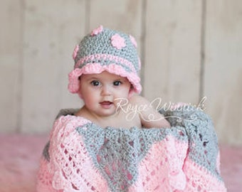 Gray Hat with  Pink Flowers  Hat Baby Photography Prop Sizes Preemie, Newborn, 0-3 months, 3-6 months