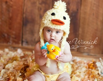 Little Duck Crochet Hat Earflap Photography Prop Ready Item