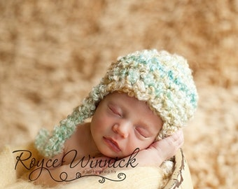 Baby Boy Crochet Hat Multicolor Earflap Baby Newborn Crochet Photography Prop Ready Item