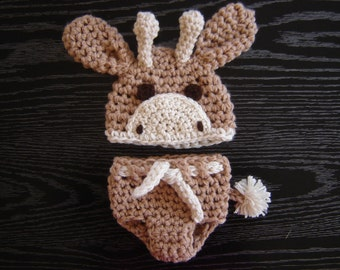 Giraffe Crochet  Hat and Diaper cover Baby Boy or Baby Girl Photography Prop