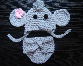 Elephant Set Hat and Diaper cover Crochet Photography Prop