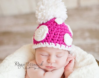 Baby Girl Crochet Hat Dot Pom Beanie and Photography Prop Newborn 0-3 months 3-6 months