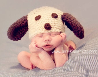 Crochet Baby Boy Hat Puppy Beanie Photography Prop Ready Item