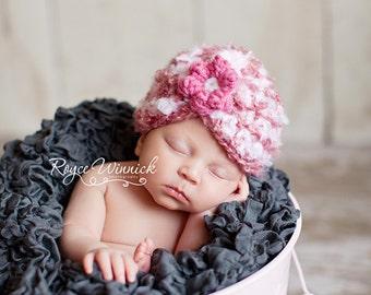 Fuzzy  Striped Baby Crocheted Hat  Photography Prop Newborn 0-3 months 3-6 months