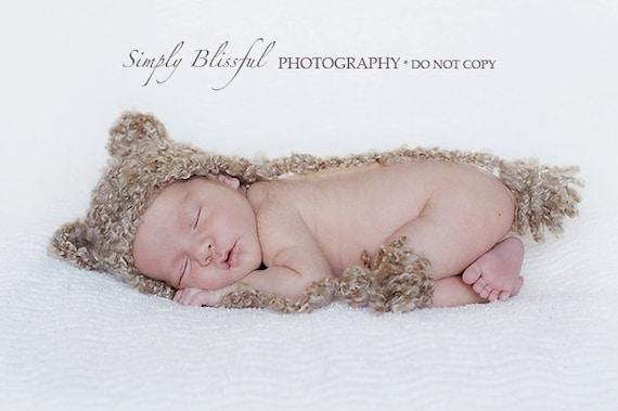 Crochet baby Bear Hat  Photography Prop Ready Item