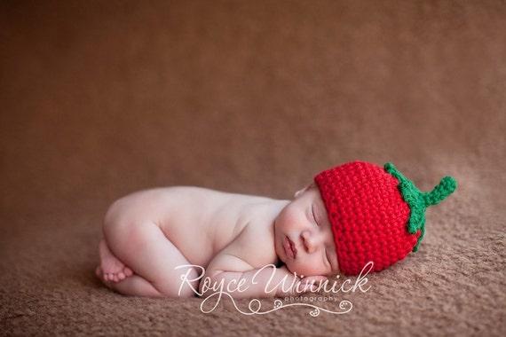 Crochet Baby Boy Hat Tomato Beanie Photography Prop Ready Item