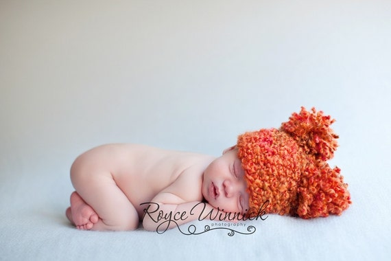 Puffy Pom Baby Crochet Hat Newborn Photography Prop
