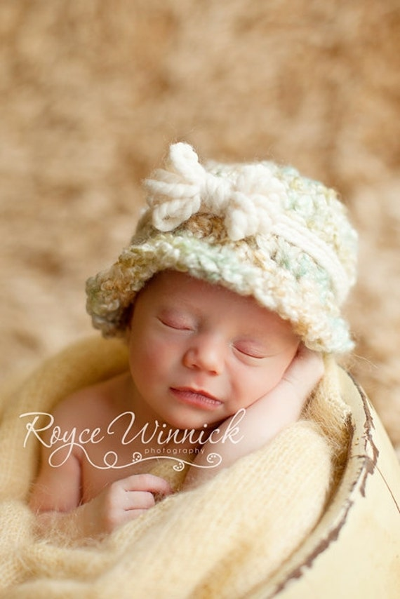 Bow Cloche Baby Newborn Crochet Photography Prop