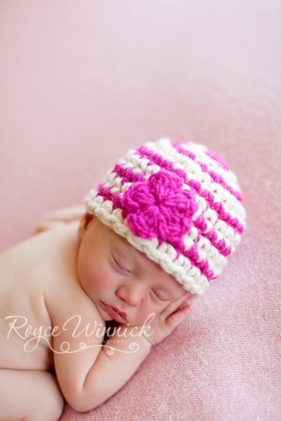 Striped Beanie With Flower Baby Newborn Photography Prop