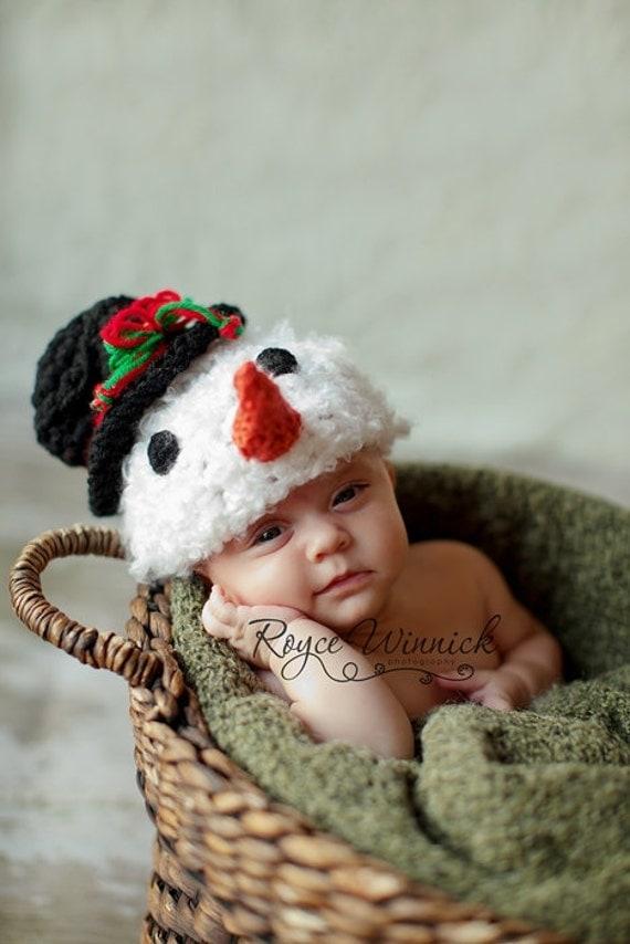 Baby Boy or Baby Girl Crochet Hat Snowman Photography Prop Sizes Preemie, Newborn, 0-3 months, 3-6 months
