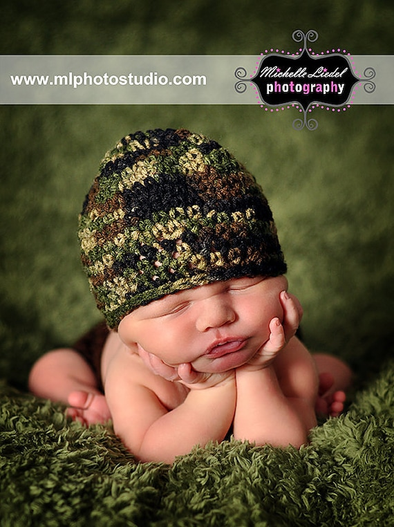 Camouflage Beanie with yellow detachable flower Baby Photography Prop Sizes Preemie, Newborn, 0-3 months, 3-6 months