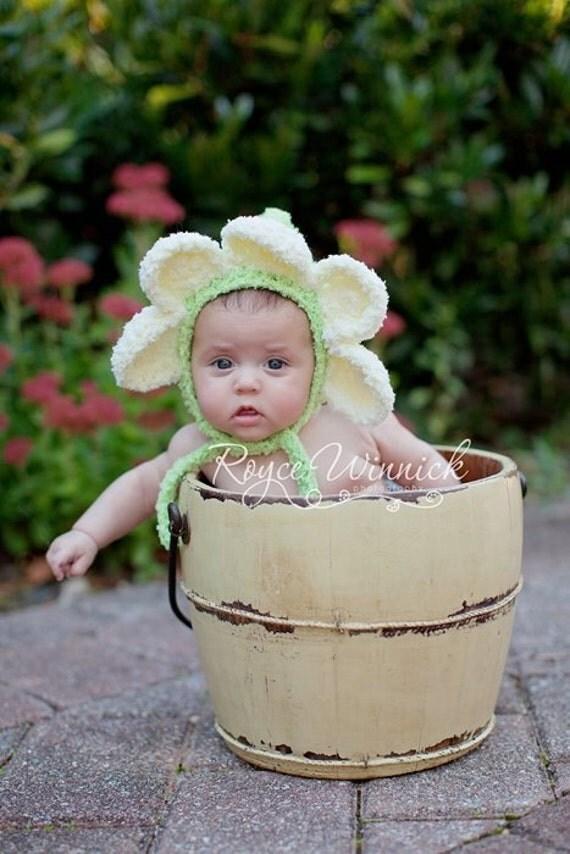 Daisy Crochet Baby Hat Pattern : Baby Girl Hat Daisy Bonnet Crochet Photography Prop Sizes
