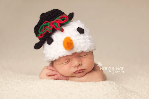 Snowman Hat Crochet Baby Photography Prop Sizes Preemie, Newborn, 0-3 months, 3-6 months