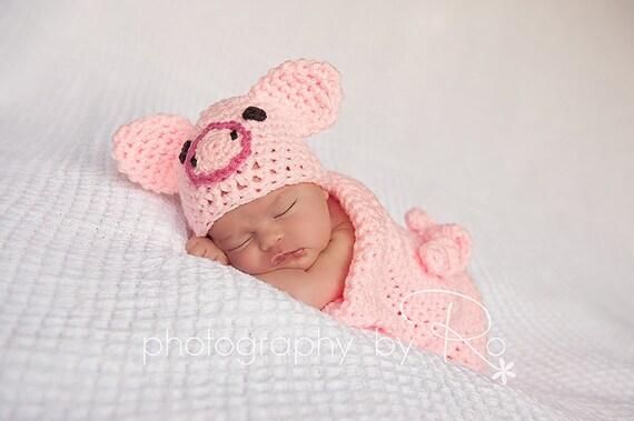Crochet Piggy Set - Cocoon and Beanie baby Newborn Crochet Photography Prop