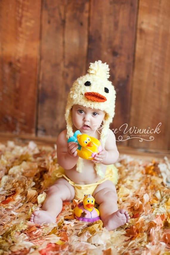 Little Duck Crochet Hat Earflap Photography Prop Ready Item