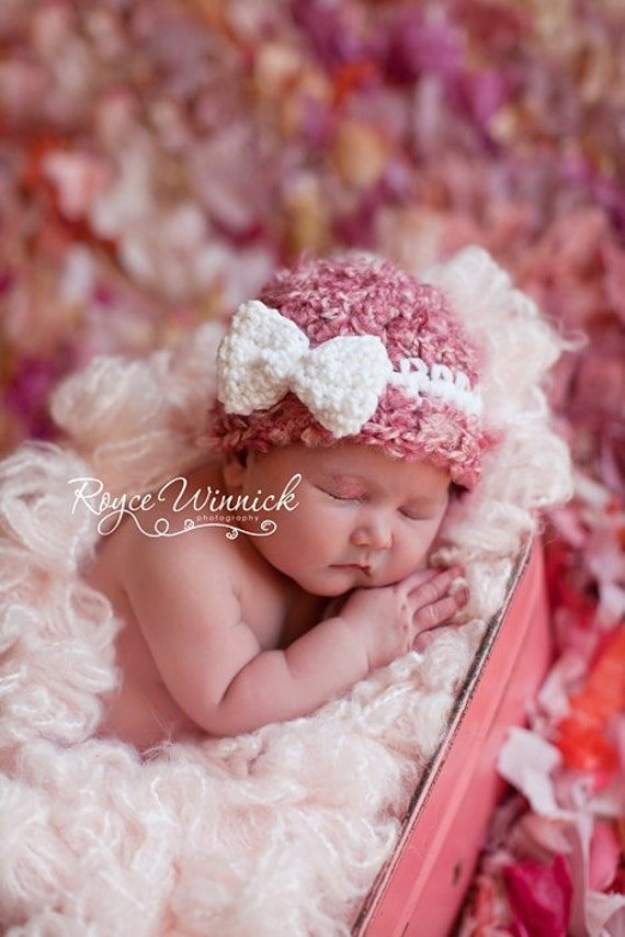 Baby Girl Crochet Hat Pink Beanie White Bow Photography Prop Newborn 0-3 months 3-6 months