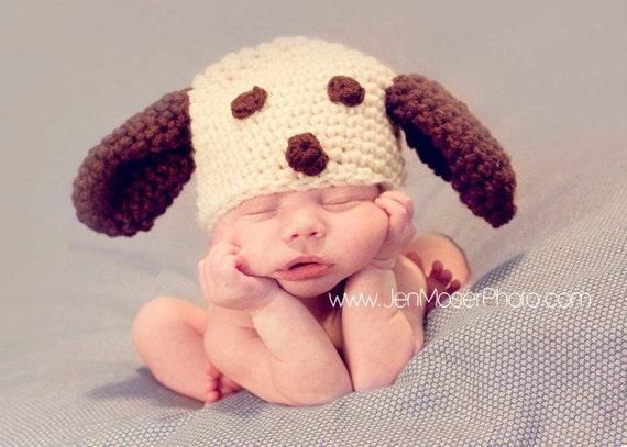 Crochet Baby Boy Hat Puppy Beanie Photography Prop Ready Item