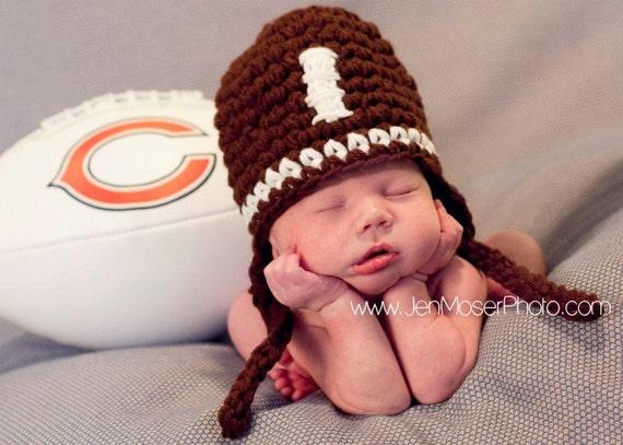 Football Crochet Baby Boy Hat Earflap  Photography Prop
