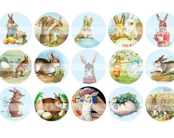 Digital clipart, instant download, Easter Bunny Images Easter  eggs rabbit1 inch One Inch Circles--Digital Collage Sheet (4 by 6 inches) 439