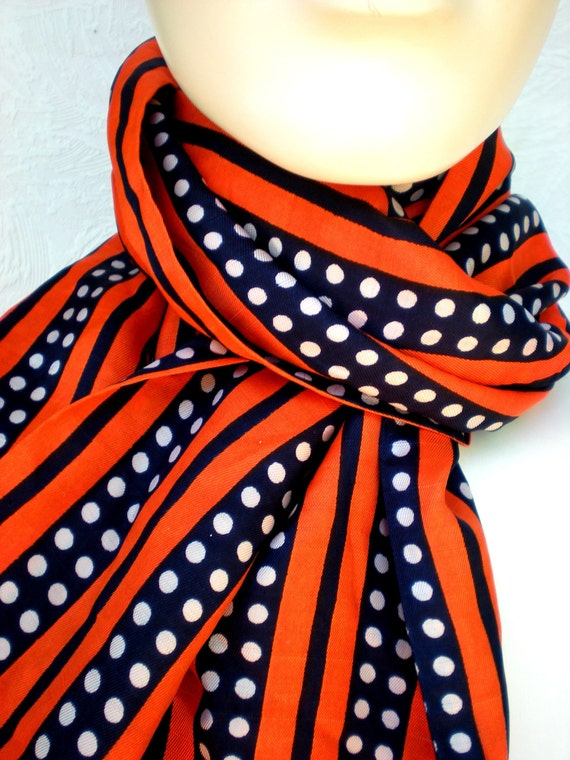 Polka Dots and Stripes Vintage Scarf