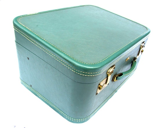 1950s Vintage Turquoise Suitcase