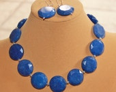 glossy big bold royal blue malaysian jade hand cut gemstones huge 25mm disc beads handmade beaded artisan necklace and earrings set OOAK