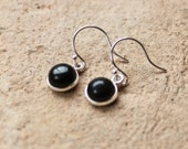 lovely small onyx gemstone silver charm earrings