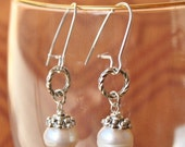 white freshwater large 10mm pearl beaded hoop earrings silver sp