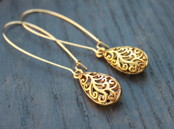 extra large and long filigree gold plated tear drop charm gp earrings