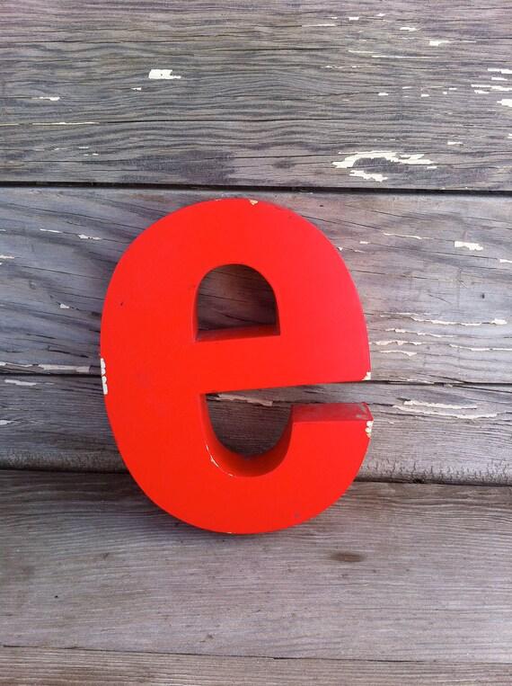 vintage letter E / retro signage / red metal letter E