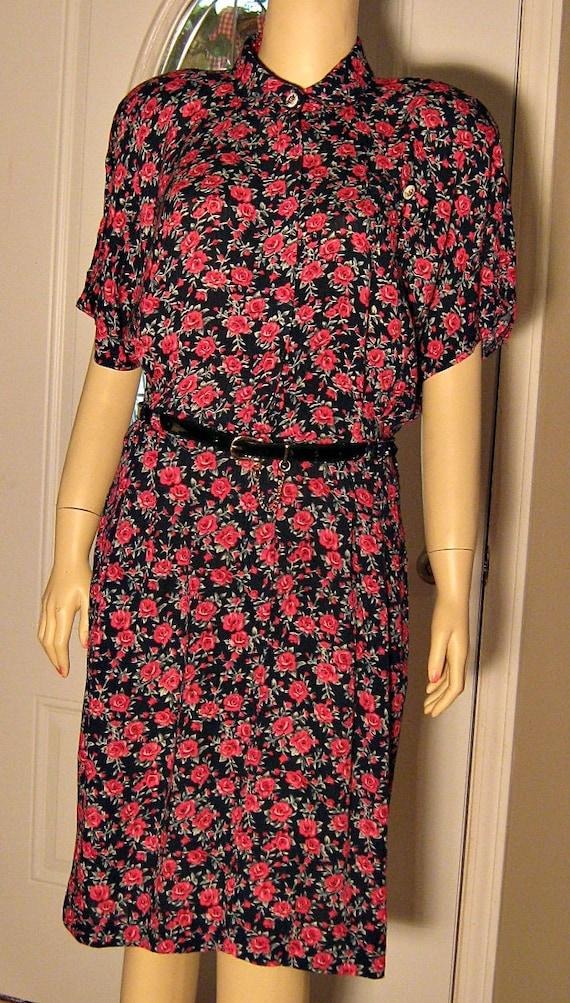 Romantic Red Rose Print 80s Dress with Black Belt Size 12