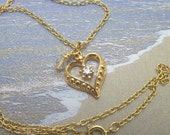 Vintage Gold Heart with Rhinestone Pendant with Swarovski Crystal Charm on 18 Inch Gold Chain One of a Kind Previously 20 Dollars ON SALE