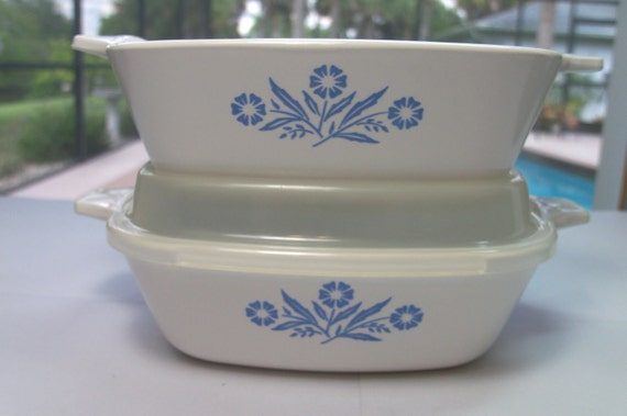 Vintage Corning Ware Blue Corn Flower Dishes
