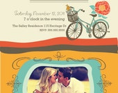 Custom Photo Engagement Party Invitation with Vintage Bicycle, Floral, Greeting Card, Save the Date, Wedding Card